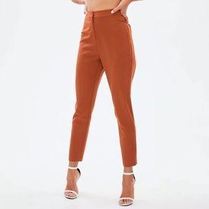 Women NEW Rust Orange Tapered Cigarette Trousers